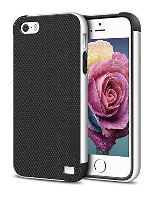 Fab-Case  Mobile Phone Accessories iPhone 5/5S SE Case, EXSEK Hybrid Ultra Slim 3 Color Case Shockproof [Anti-Slip] [Extra Front Raised Lip] Scratch Resistant Soft Gel Bumper Rugged Case for iPhone 5/5S (Black)