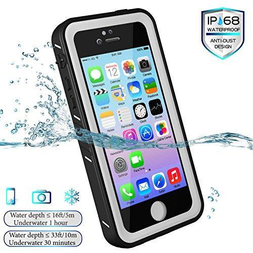 Fab-Case  Mobile Phone Accessories iPhone 5/5S/SE Waterproof Case, Spidercase Full Body Protective Cover Rugged Dustproof Snowproof IP68 Certified Waterproof Case with Touch ID for iPhone 5S 5 SE (White/Clear)