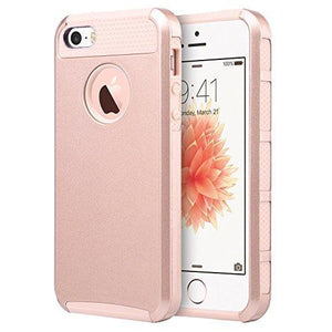 Fab-Case  Mobile Phone Accessories iPhone 5S Case,iPhone 5 Case,iPhone SE Case, UARMOR Slim Fit Protection Hybrid Case Shockproof Hard Rugged Protective Back Rubber Cover with Dual Layer Impact Protection (Rose Gold)