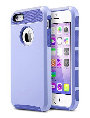 Fab-Case  Mobile Phone Accessories iPhone 5S Case, iPhone 5 Case, iPhone SE Case, ULAK Slim Fit Protection Case Shockproof Hard Rugged Ultra Protective Back Rubber Cover with Dual Layer Impact Protection(Light Purple+Purple)