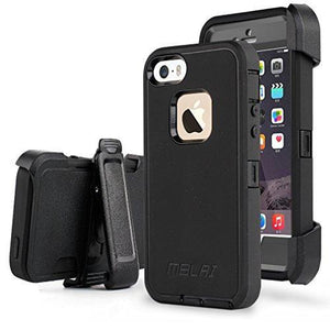 Fab-Case  Mobile Phone Accessories iPhone 5s Case, iPhone 5 Case Shockproof Belt Clip Kickstand Case with Built-in Screen Protector for iPhone 5/5S/SE - Black