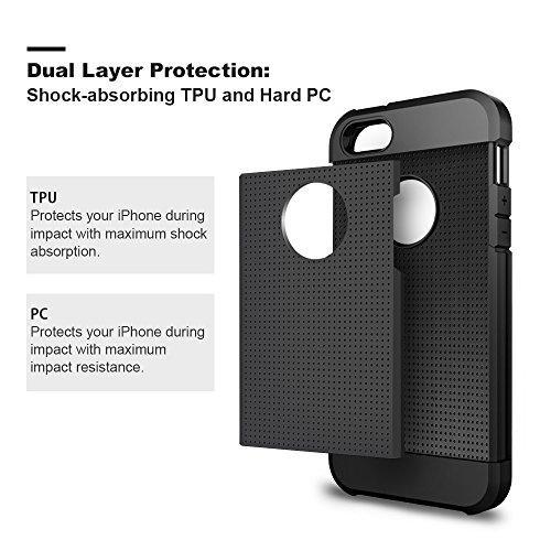 Fab-Case  Mobile Phone Accessories iPhone 5S Case, iPhone SE Case, iPhone 5 Case, LOEV Hybrid Heavy Duty Protection Case, Tough Rugged PC Armor & Shockproof Rubber Bumper Cover with Air Cushion for Apple iPhone SE/5S/5 – Black