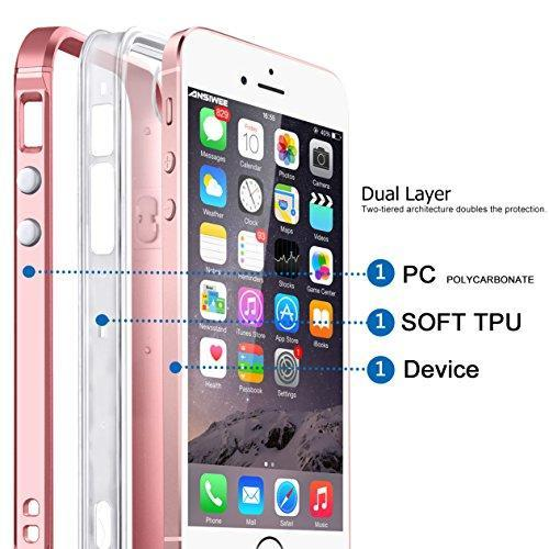 Fab-Case  Mobile Phone Accessories iPhone SE Case, Ansiwee Reinforced PC Frame Highly Durable Crystal Slim Shock-Absorption Flexible Soft Rubber TPU Bumper Hybrid Protective Case for Apple iPhone SE / iPhone 5s 5 (Rose Gold)