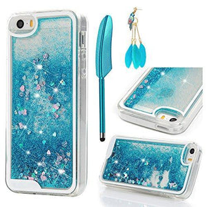 Fab-Case  Mobile Phone Accessories iPhone SE Case, iPhone 5 5S Case - MOLLYCOOCLE Transparent Clear TPU Plastic Shell 3D Bling Sparkle Glitter Quicksand and Cute Star Flowing Liquid Cover for iPhone SE/5/5S - Blue