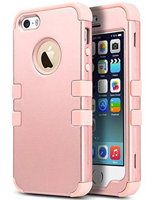 Fab-Case  Mobile Phone Accessories iPhone SE Case,iPhone 5S Case, ULAK Anti Slip iPhone 5 Case Dust Scratch Shock Resistance Protective Cover for Apple iPhone SE 5S 5 with Hybrid High Soft Silicone + Hard PC Case (Rose gold)