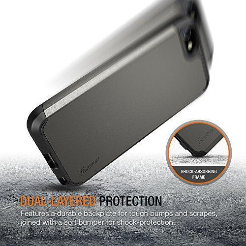 Fab-Case  Mobile Phone Accessories iPhone SE Case, Trianium [Protak Series] Ultra Protective Cases For Apple iPhone SE (2016) & iPhone 5S 5 [Gunmetal Gray] Dual Layer + Shock-Absorbing Hard Bumper Cover