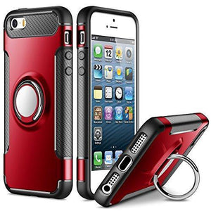 Fab-Case  Mobile Phone Accessories SAMONPOW Slim Fit Hybrid Dual Layer Armor iPhone 5s Case Shock Absorption Rugged Defender with Ring Holder Kickstand Drop Protection Cover Soft Rubber Bumper Case for iPhone 5 / 5s / SE - Red