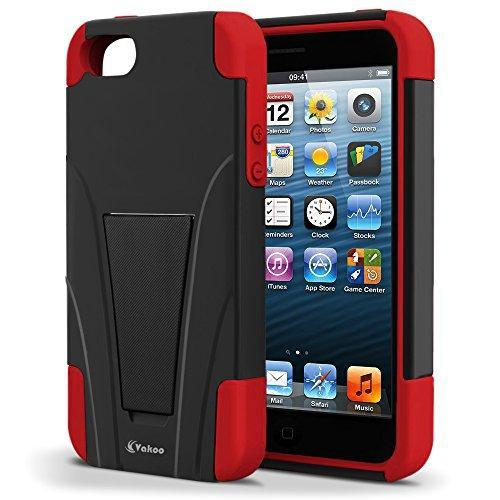Fab-Case  Mobile Phone Accessories Vakoo BX-HQ1J-EO7L02 iPhone 5S/5 Case Shield Series Dual Layer Defender Shockproof Drop Proof High Impact Hybrid Armor Silicone Rugged Case for Apple iPhone SE 5 5s with Kickstand – Red/Black