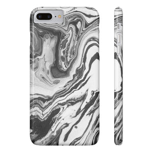Fab-Case Phone Case Black White Swirl Designer Marble Series Ultra Slim By Fab Case For Apple iPhone 7/8 Plus Cover