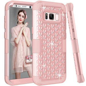 Fab-Case  Pink Gold / For Galaxy S8 For Samsung Galaxy S8/S8 Plus Shockproof Diamond Studded with Dual Layer Impact Protection