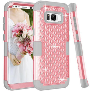 Fab-Case  Pink Grey / For Galaxy S8 For Samsung Galaxy S8/S8 Plus Shockproof Diamond Studded with Dual Layer Impact Protection