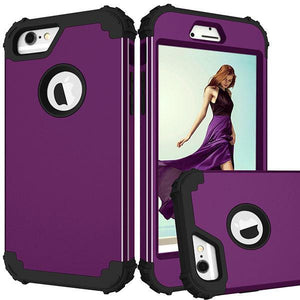 Fab-Case  Purple and Black / For Iphone 6 6s FULL BODY 360 SHOCKPROOF CASE FOR iPhone 6/6S/PLUS iPhone 7/7 PLUS iPhone 8/8 Plus
