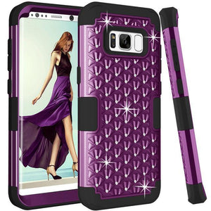 Fab-Case  Purple Black / For Galaxy S8 For Samsung Galaxy S8/S8 Plus Shockproof Diamond Studded with Dual Layer Impact Protection