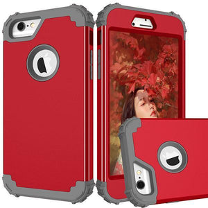 Fab-Case  Red and Gray / For Iphone 6 6s FULL BODY 360 SHOCKPROOF CASE FOR iPhone 6/6S/PLUS iPhone 7/7 PLUS iPhone 8/8 Plus