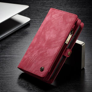 Fab-Case  Red / For iPhone 8 CaseMe Genuine Leather Zipper Multi Function Wallet Case for iPhone 8