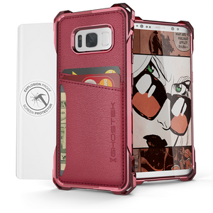 Fab-Case Red Ghostek Exec Series Wallet case for Samsung Galaxy S8 Plus Cover with screen protector