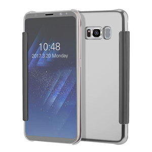Fab-Case  Silver / For S6 Clear View Flip Slim PC Electroplating Mirror Phone Cases For Samsung Galaxy S8 S7 S6 Edge Plus