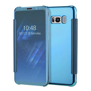 Fab-Case  Sky Blue / For S6 Clear View Flip Slim PC Electroplating Mirror Phone Cases For Samsung Galaxy S8 S7 S6 Edge Plus