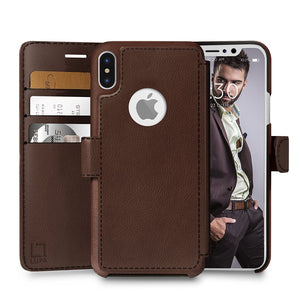 Fab-Case  wallet case for iphone x 10 Dark Brown Eco-Friendly Credit Card Wallet Phone Case for iPhone X 10