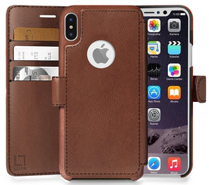 Fab-Case  wallet case for iphone x 10 Light Brown Eco-Friendly Credit Card Wallet Phone Case for iPhone X 10