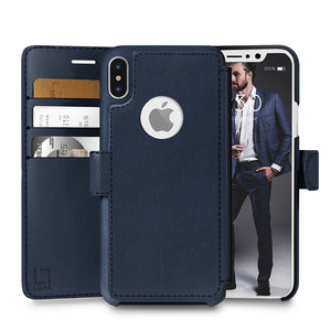 Fab-Case  wallet case for iphone x 10 Navy Blue Eco-Friendly Credit Card Wallet Phone Case for iPhone X 10