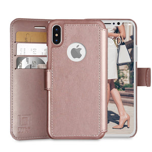 Fab-Case  wallet case for iphone x 10 Rose Gold Eco-Friendly Credit Card Wallet Phone Case for iPhone X 10