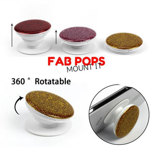 fab pops Fab pops Finger stand Fab Pops Rose Gold Glitter Wrap Grip Stand For Phones And Tablets