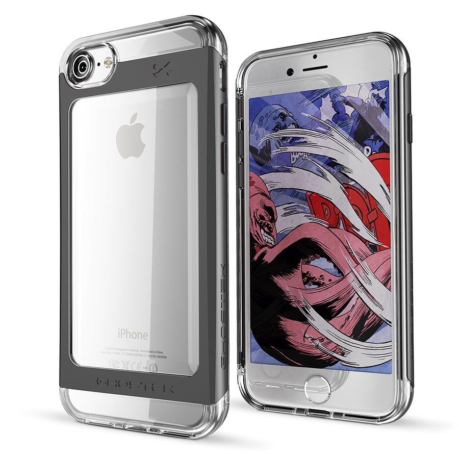 ghostek Cell Phones & Accessories Ghostek Cloak 2 Clear Protective Case with Tempered Glass for iPhone 6/7/8 (Black)