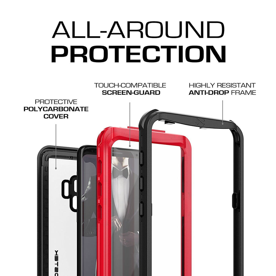 Ghostek Nautical Series for Galaxy S9 Red Ghostek Nautical Rugged Full Body Waterproof Case for Samsung Galaxy S9