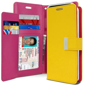 Goospery wallet case for Samsung galaxy s9 plus YELLOW / HOT PINK GOOSPERY Tri-Fold Wallet Case for Samsung Galaxy S9 Plus