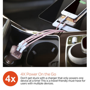 HyperGear CAR CHARGER HyperGear High-Power Quad USB 6.8A Car Charger - Rose Gold