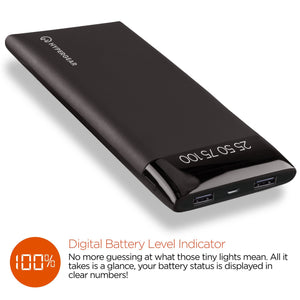 HyperGear General Dual USB Portable Battery Pack with Digital Battery Indicator