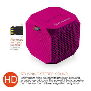 HyperGear wireless speaker pink HyperGear Sound Cube Bluetooth Wireless Speaker HD Bass Pink