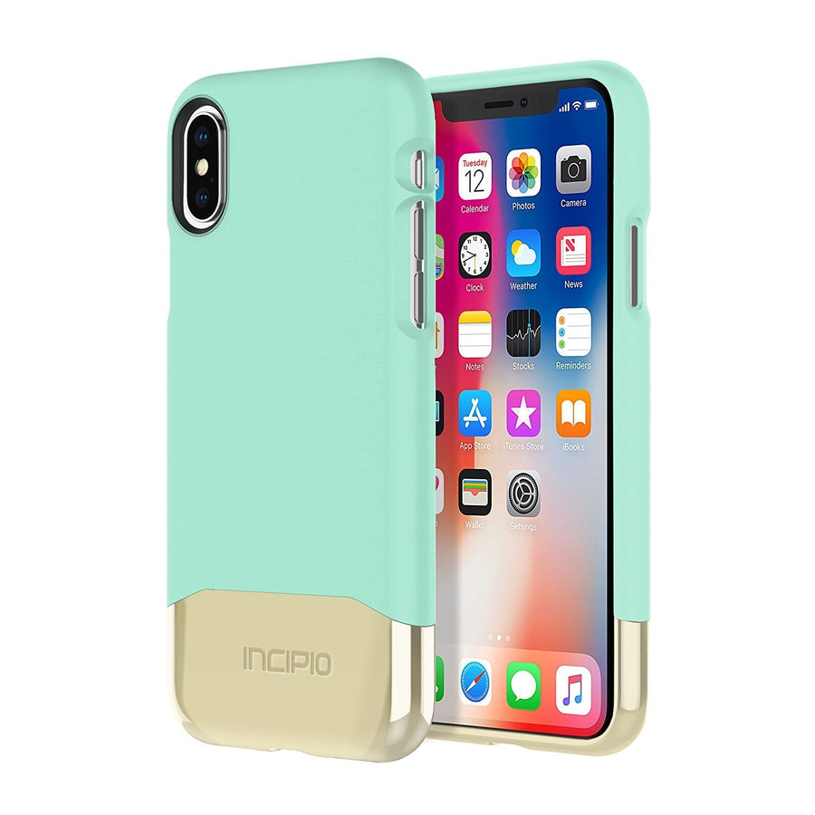 INCIPIO PHONE CASE COVER FOR IPHONE X 10 Teal/ Gold Incipio Edge Chrome Hard drop impact Phone Case Cover for iPhone X 10