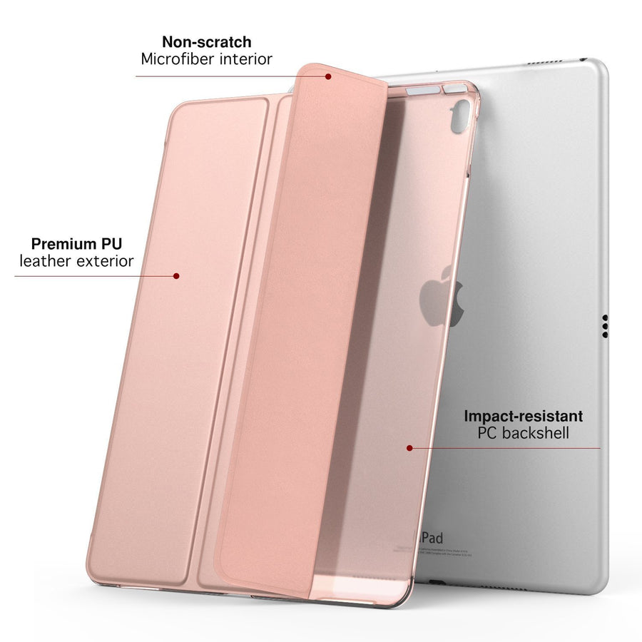 Moko ipad Case 12.9 1-Rose Gold MoKo Case for iPad Pro 12.9 - Slim Lightweight Smart-shell Stand Cover with Translucent Frosted Back
