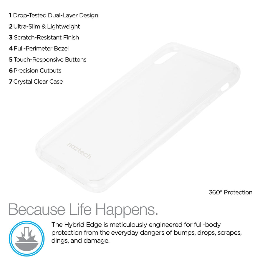 Naztech iphone x 10 phone case Naztech Hybrid PC TPU Clear Phone Cases for iPhone X 10 Clear