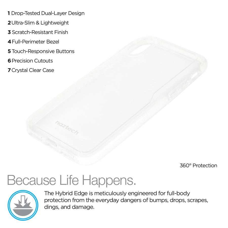 Naztech iphone x 10 phone case Naztech Hybrid TPU Clear Back Phone Case for iPhone X 10 Edge Series White
