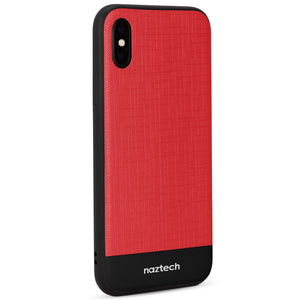Naztech Phone Case for iPhone X 10 Naztech Hybrid PC TPU Phone Cases for iPhone X 10 Texture Series Red Black