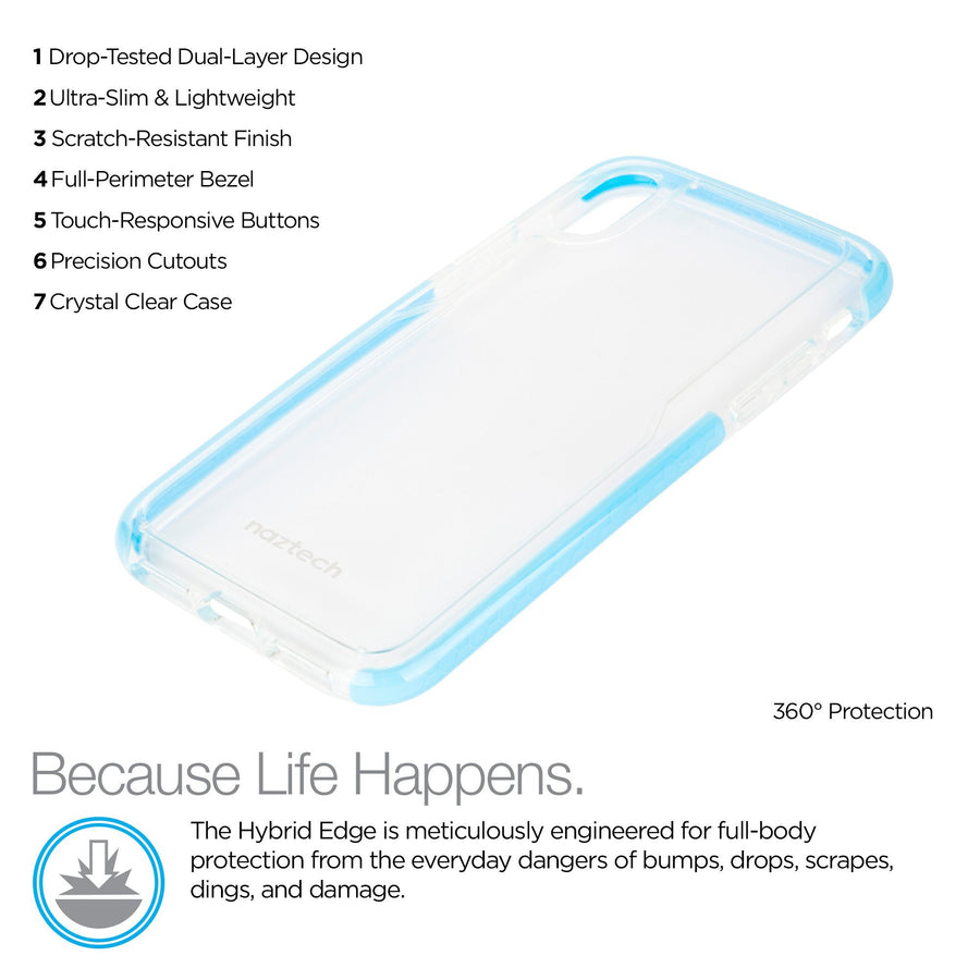 Naztech phone case for iphone x 10 Naztech Hybrid TPU Clear Back Phone Case for iPhone X 10 Edge Series Blue
