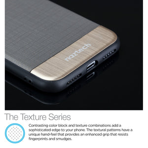 Naztech Phone Case for iPhone X 10 Naztech Hybrid TPU Phone Case for iPhone X 10 Texture Series Grey Gold