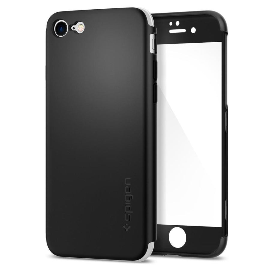Spigen Cell Phones & Accessories Black Spigen Thin Fit 360 Case with Full Body Protection and Tempered Glass for iPhone 7/8