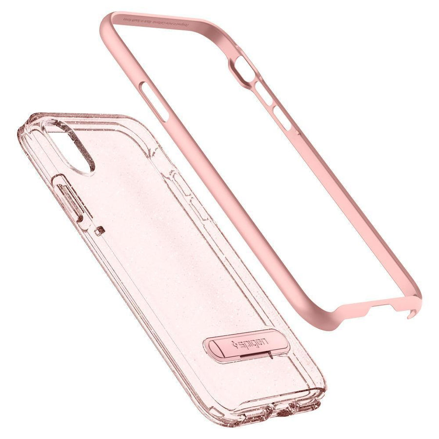 Spigen(r) iPhone X Case Spigen Crystal Hybrid Glitter Case With Kickstand For Apple iPhone X 10 Rose Quartz