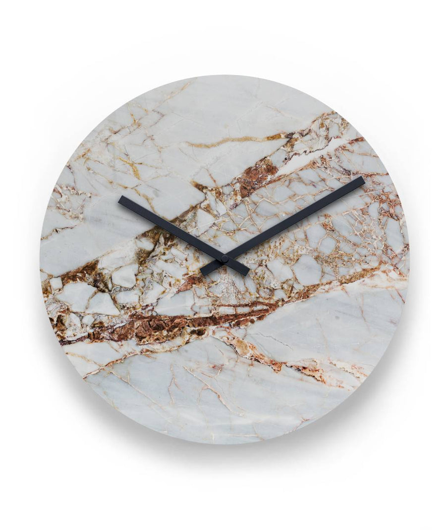 "ViralStyle Decor Metal / L White Gold Marble Wall Clock 11"" Round Wall Clock"