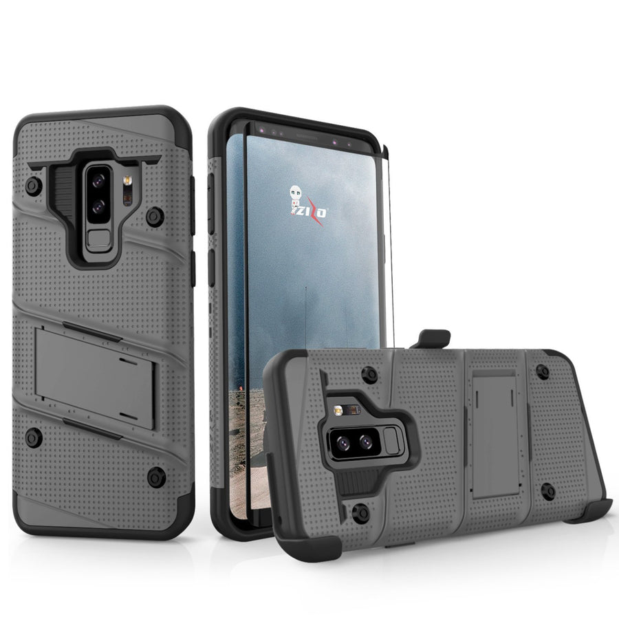 Zizo Wireless Fitted Phone Cases for Samsung Galaxy S9 Plus Gun Metal Gray Zizo Bolt Series With Screen Protector Samsung Galaxy S9 Plus Case