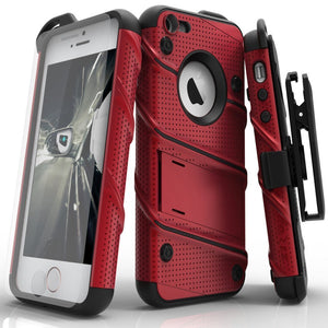 ZIZO Wireless Phone Case Cover iPhone 5 5S 5SE Red & Black Zizo Bolt Shockproof Clip holster phone case cover for iPhone 5 5S 5SE