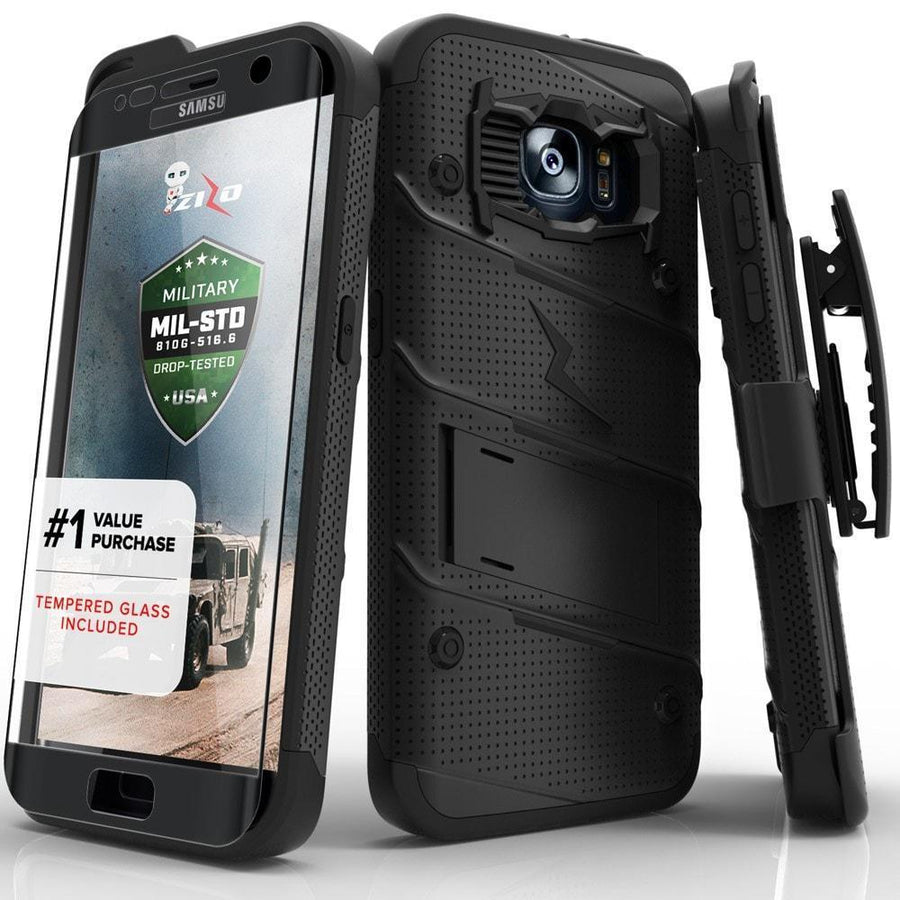 ZIZO Wireless phone case galaxy s7 edge Black/Black Zizo Bolt 360 Rugged Drop Impact Shock Proof Holster Case For Galaxy S7 Edge