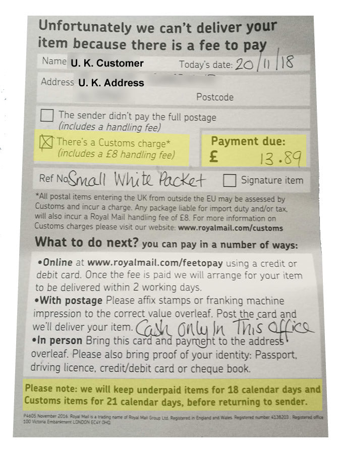 Shipping to the U K  - Customs Taxes Are a Real Drag