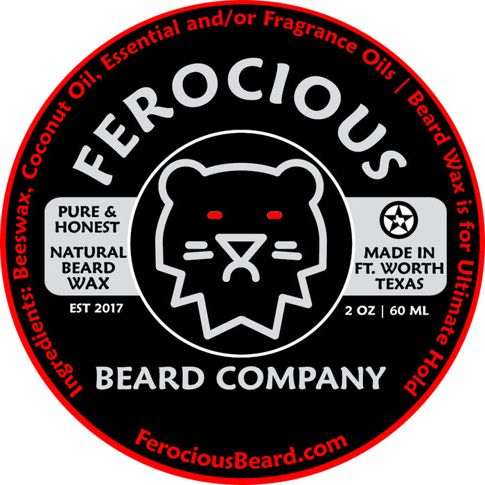Ferocious Beard Wax label.
