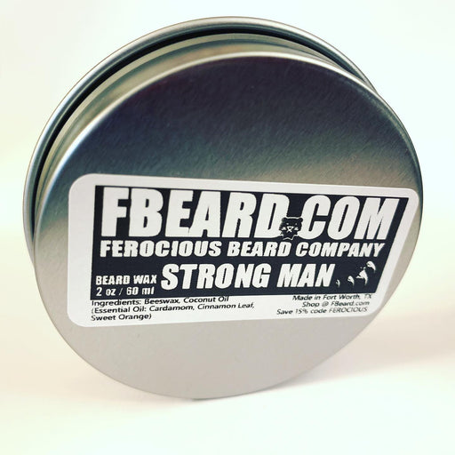 Back of Ferocious Beard Wax tin.