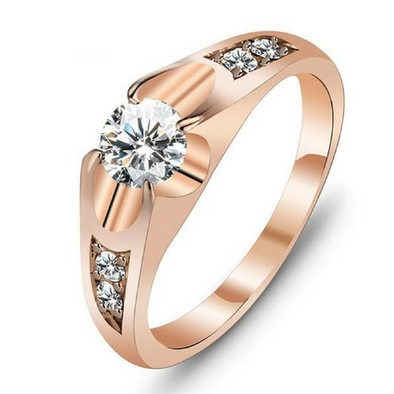 Bague Femme Or Rose et Crystal de zirconium AAA - Pomonaco